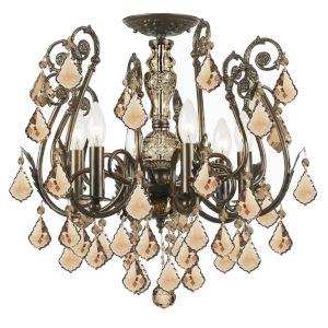 Regis English Bronze Golden Teak Crystal Six-Light Semi-Flush