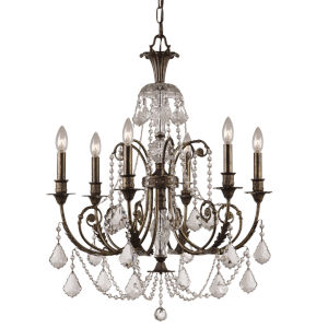 English Bronze Crystal Six-Light Chandelier