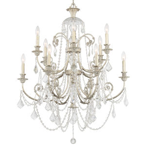 Regis Olde Silver Twelve-Light Chandelier with Hand Polished Crystal