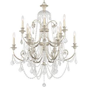 Regis Olde Silver Twelve-Light Chandelier with Swarovski Strass Crystal