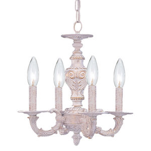 Paris Flea Antique White Four-Light Chandelier