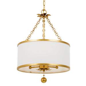 Broche Antique Gold Three-Light Chandelier