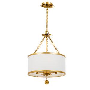 Broche Antique Gold Three-Light Chandelier