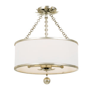 Broche Antique Silver Three-Light Semi-Flush Mount