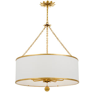 Broche Antique Gold Eight-Light Chandelier