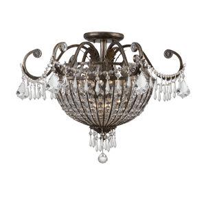 Traditional Classic English Bronze Crystal Nine-Light Semi-Flush