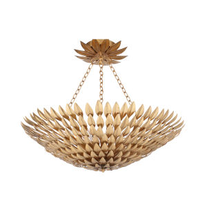 Broche Antique Gold Eight-Light Semi-Flush Mount