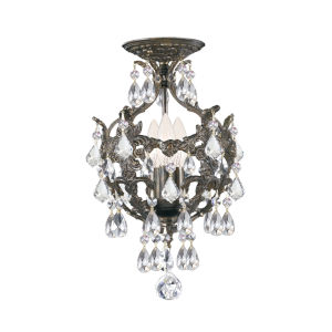 Legacy English Bronze Three Light Semi-Flush Mount with Clear Crystal