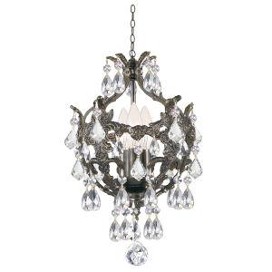 Legacy English Bronze Three Light Mini-Chandelier with Clear Swarovski Strass Crystal