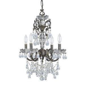 English Bronze Wood Crystal Four-Light Chandelier