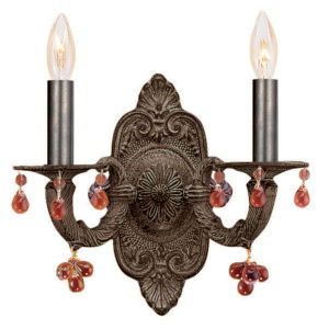 Sutton Venetian Bronze Natural Wrought Iron Two-Light Wall Sconce with Murrano Crystal