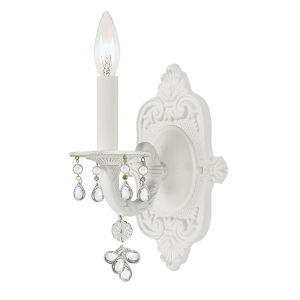 Paris Flea Market Wet White One-Light Wall Sconce with Murano Crystal