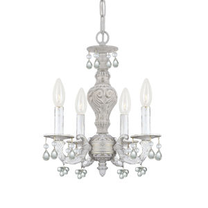 Antique White Clear Crystal Four-Light Mini Chandelier