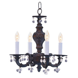 Abbie Venetian Bronze Chandelier Draped with Clear Murano Crystal Drops