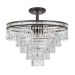 Mercer English Bronze Seven Light Hand Cut Crystal Semi-Flush