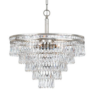 Mercer Olde Silver Six Light Hand Cut Crystal Convertible Chandelier