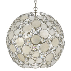 Palla Antique Silver Six-Light Pendant with Natural White Capiz Shell and Hand Cut Crystal