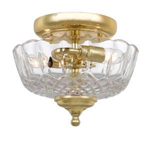 Richmond Polished Brass Two-Light Semi-Flush Mount