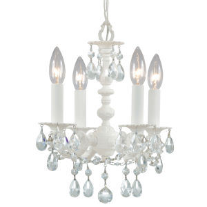Paris Flea Market Wet White Four-Light Chandelier with Hand Polished Crystal