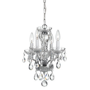 Traditional Chrome Four Light Chandelier with Clear Swarovski Strass Crystal