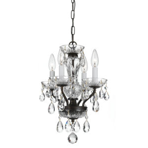 Traditional Crystal English Bronze 11-Inch Four-Light Mini Chandelier