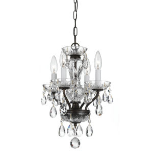 Traditional Crystal English Bronze Four-Light Chandeliers
