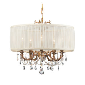 Brentwood Ornate Casted Aged Brass Chandelier with Clear Hand Polished Crystal and Antique White Shade