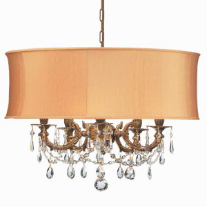 Brentwood Ornate Casted Aged Brass Chandelier with Clear MWP Crystal and Harvest Gold Shade