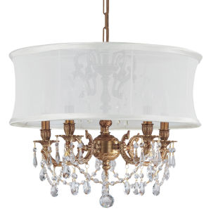 Brentwood Aged Brass Five-Light Chandelier with Swarovski Spectra Crystal and Smooth Antique White Shade