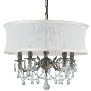 Brentwood Pewter Five-Light Chandelier with Hand Polished Crystal and Smooth Antique White Shade