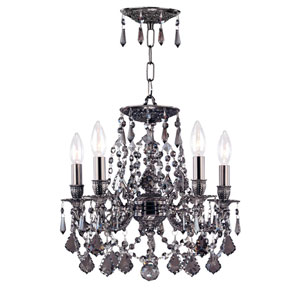 Hot Deal Pewter Five-Light Mini Chandelier Silver Shade Hand Cut