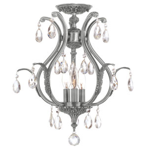 Dawson Pewter 19.5-Inch Six Light Clear Crystal Semi Flush Mount