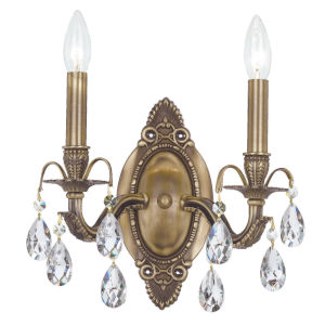 Dawson Antique Brass Two-Light Wall Sconce with Hand Polished Crystal