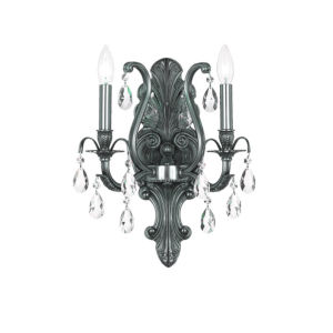 Dawson Pewter Two-Light Wall Sconce with Hand Polished Crystal