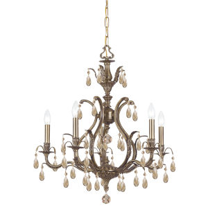 Dawson Antique Brass 26-Inch Five-Light Chandeliers