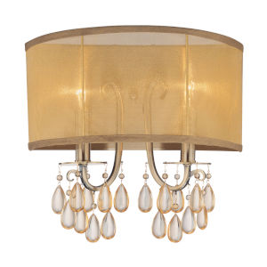 Hampton Antique Brass Two-Light Wall Sconce with Etruscan Smooth Oyster Crystal