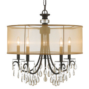 Hampton English Bronze Five-Light Chandelier