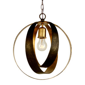 Luna English Bronze and Antique Gold One Light Sphere Chandelier