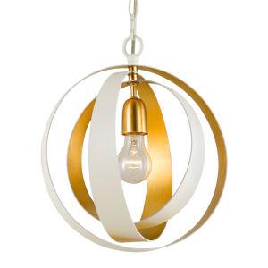 Luna Matte White and Antique Gold 12-Inch One-Light Chandelier