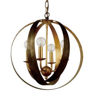 Luna English Bronze and Antique Gold Four Light Sphere Chandelier