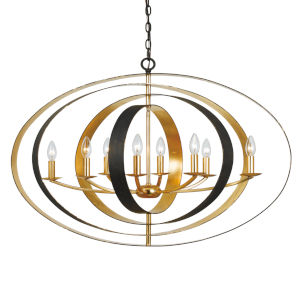 Luna English Bronze and Antique Gold Eight-Light Pendant