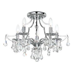 Cedar Polished Chrome Five Light Flush Mount with Clear Swarovski Strass Crystal