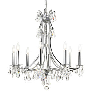 Cedar Polished Chrome Eight-Light Chandelier with Clear Swarovski Strass Crystal