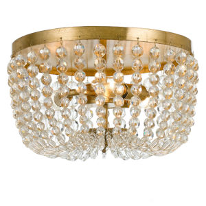 Rylee Antique Gold Three Light Flush Mount with Hand Cut Faceted Crystal Beads