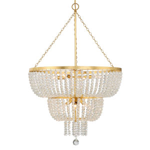 Rylee Antique Gold 25-Inch Eight-Light Chandelier