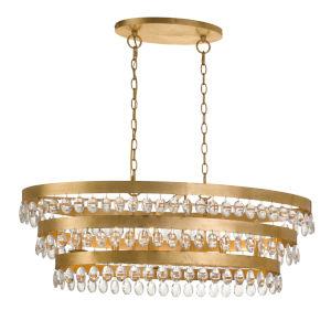 Perla Six-Light Antique Gold Chandelier