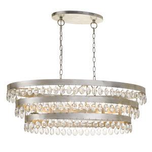 Perla Six-Light Antique Silver Chandelier