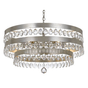 Perla Antique Silver Six Light Chandelier with Clear Elliptical Faceted Crystal