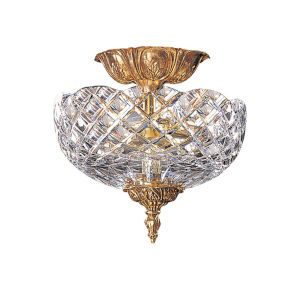 Olde Brass Crystal Semi-Flush Ceiling Light