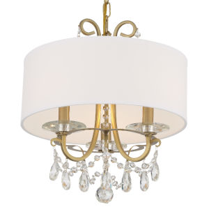 Othello Vibrant Gold 15-Inch Three-Light Hand Cut Crystal Chandelier